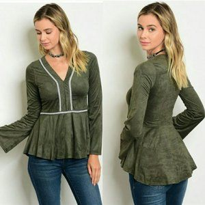 Stylish Olive Green Suede Top